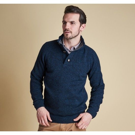 Barbour Sale Barbour Men's Essential Chunky Half Button Jumper in Navy From the Core Essentials collection