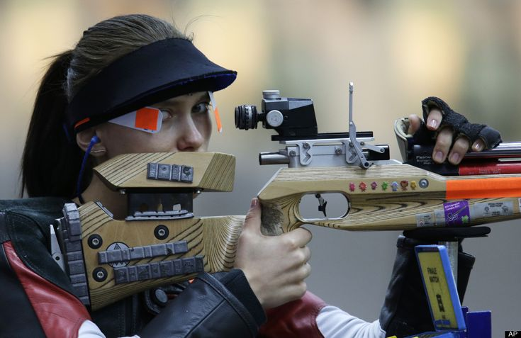 Poland's Sylwia Bogacka shoots during qualifiers for the womens 10-meter air rifle event. She went on to win the Silver Medal.