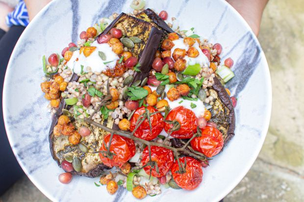 Zhoug Roasted Aubergines with Crunchy Chickpeas and a Goldenberry Pumpkin Seed B…   – Vegetarian Recipes