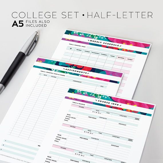 College Student Planner Set, Printable - Half Letter + A5 - Midnight Summer Floral