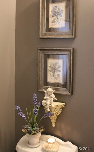 Pretty powder room - Sherwin Williams Mink