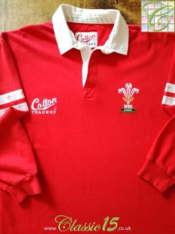 Official Cotton Traders Wales home long sleeve rugby shirt from the 1995/1996 international season.