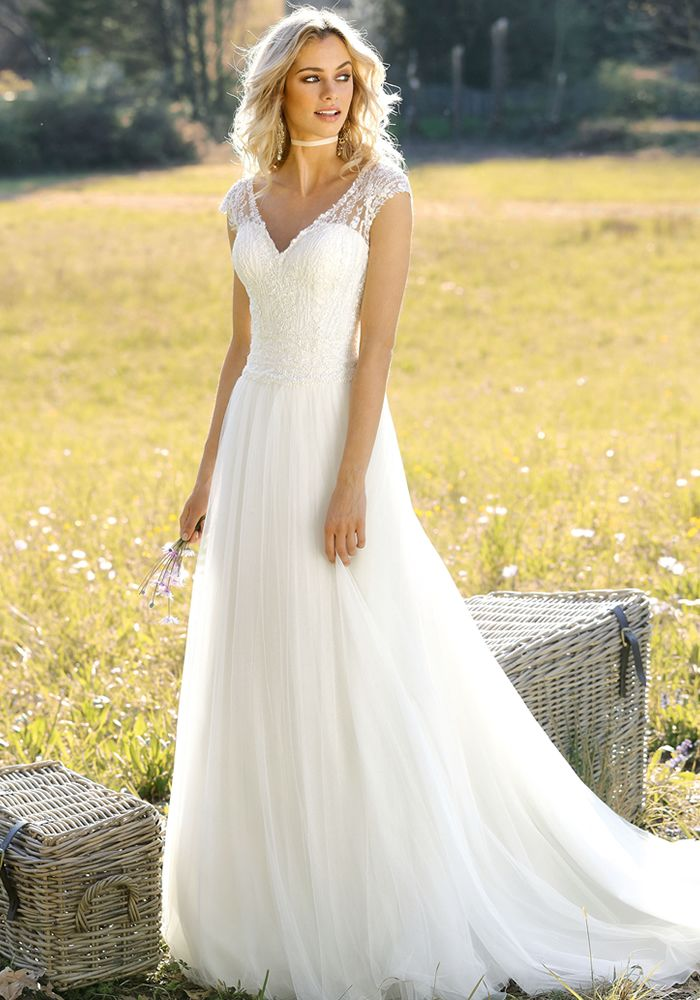 Bohemian Lace Wedding Dress Yellow