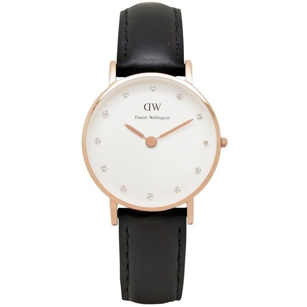 Daniel Wellington Women's Classy Rose Gold PVD Leather Strap Watch , Black (200 SGD) found on Polyvore