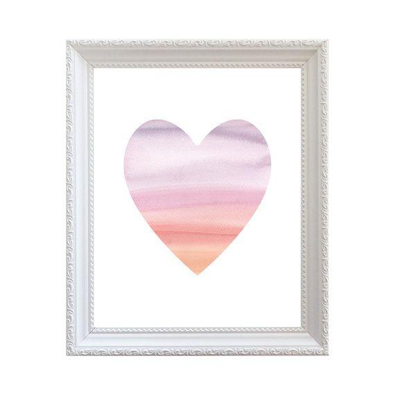 Printable decorative watercolor Heart 8'' x by PrintableGrafikArt