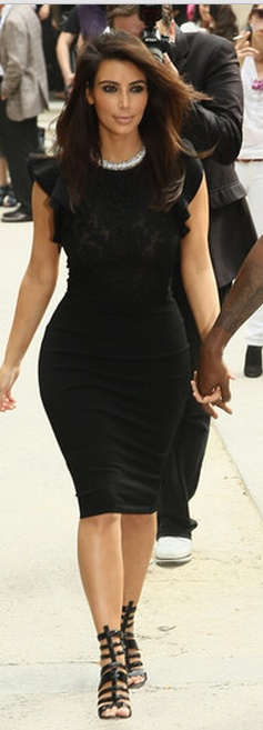 Who made  Kim Kardashian's black dress that she wore in Paris on July 4, 2012?