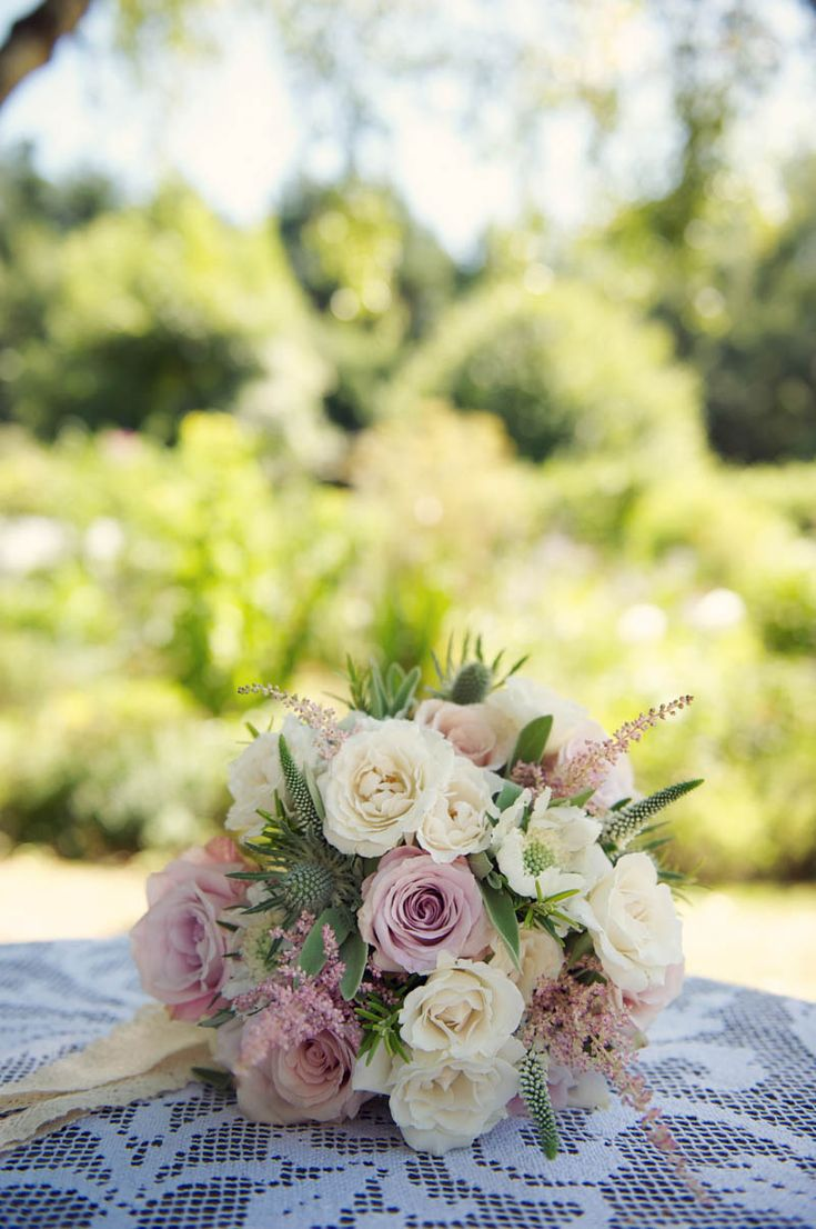 Image by Rebecca Douglas - A Rustic Scottish And English Themed Woodland Wedding In Surrey With A Lusan Mandongus Dress And A Thistle And Pink Rose Bouquet Photographed by Rebecca Douglas.