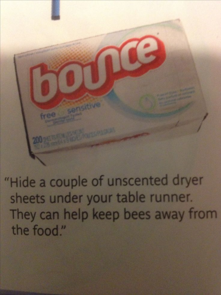 Bounce sheets keep bees away from food at outdoor parties! Who knew? Real Simple July 2013