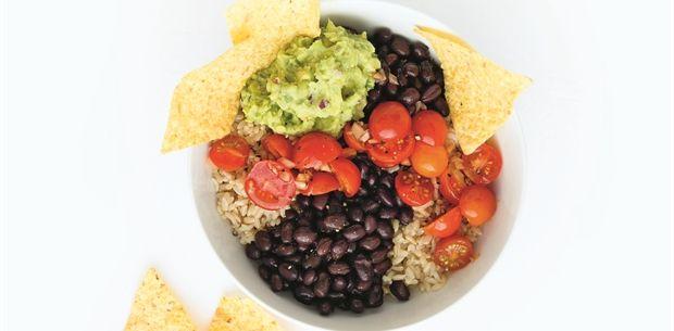 Black bean and guacamole