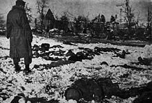 A GI surveys the scene of the Malmedy massacre. The victims' bodies were preserved under the snow until Allied forces recaptured the area in January 1945.