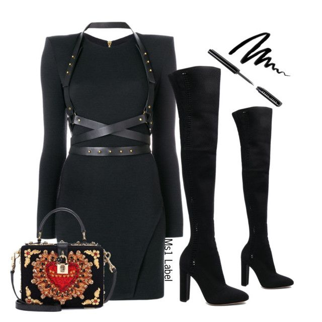 """Leather dress"" by ms1-ltu on Polyvore featuring Gianvito Rossi, Balmain, Dolce&Gabbana and Bobbi Brown Cosmetics"