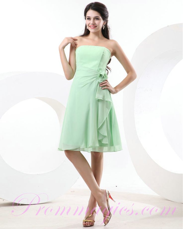 Green Bridesmaid Dresses | Cheap Chiffon Strapless Flower Mint Green Bridesmaid Dresses