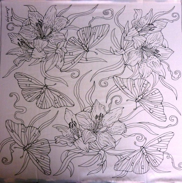 Батик: бирюзовые бабочки(шейный платок) (батик холодный) ФОТО #1