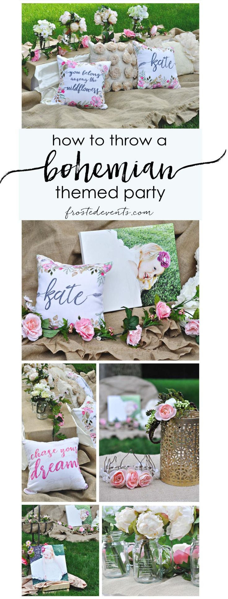 Bohemian Party Ideas for a boho chic birthday, baby shower or bridal shower. Floral tablescape and pretty details via @frostedevents