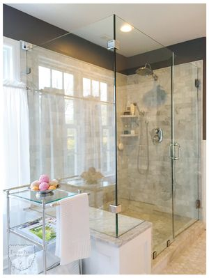 Master Bath Carrera Marble Floor Walls Glass Shower White And Gray