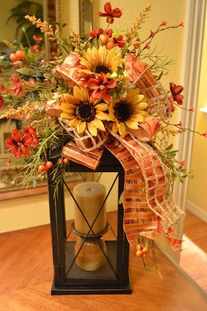 Never thought about adding sunflowers to my fall bouquet....nice!: Fall Decoration, Craft, Fall Lanterns, Lantern Centerpiece, Fall Decorating, Floral Arrangement, Sunflower Centerpiece