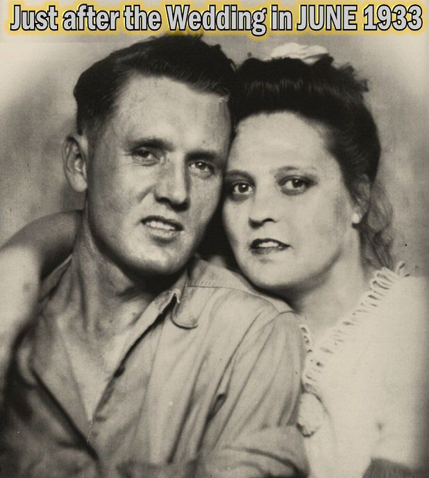 Vernon Elvis Presley & Gladys Love Smith Presley - Elvis'  parents. Wedding Picture.....1933