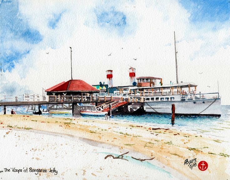 The 'Koopa' at Bongaree Jetty, Brisbane, Australia in the 1920s.  (Artist:  Kevin Rogers)