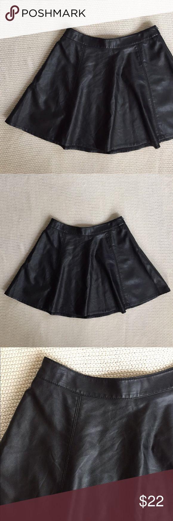 H&M Faux Leather Skirt Black faux leather skater skirt. 52% viscose, 48% polyester, polyurethane coating. H&M Skirts Circle & Skater