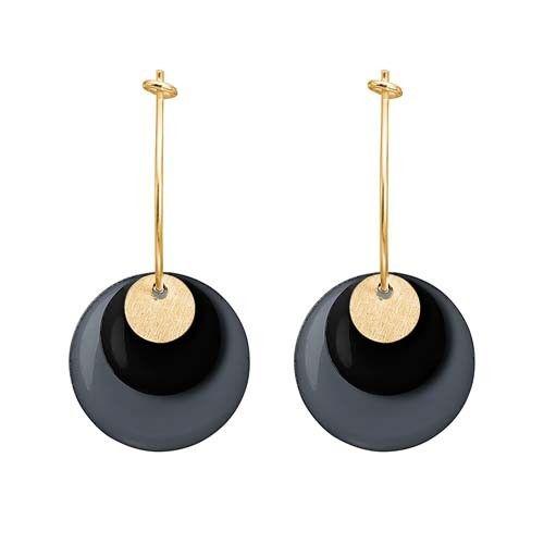 ENAMEL Copenhagen drops earring coin, gold, black, dark grey