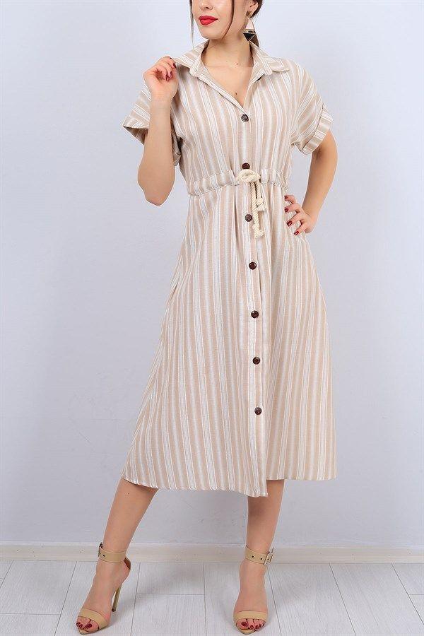 39 95 Tl Boydan Dugmeli Krem Bayan Elbise 12602b Modamizbir Elbise The Dress Moda Stilleri