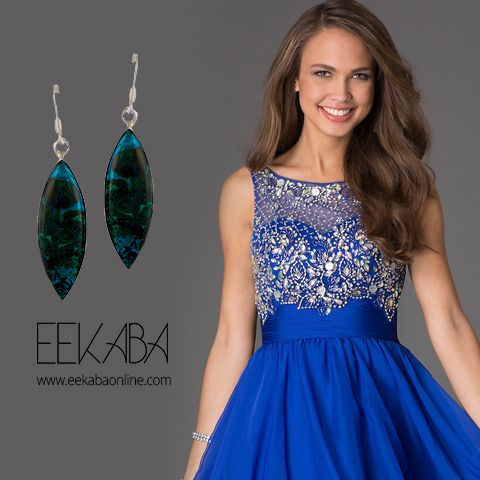 The blue mohave earring bordered by sterling silver is an eye pleasing composition in its own. This piece of beauty is simple yet elegant and quite rare. You can pair it up with multiple colors of dresses and it wont disappoint you with its gorgeous outlook.