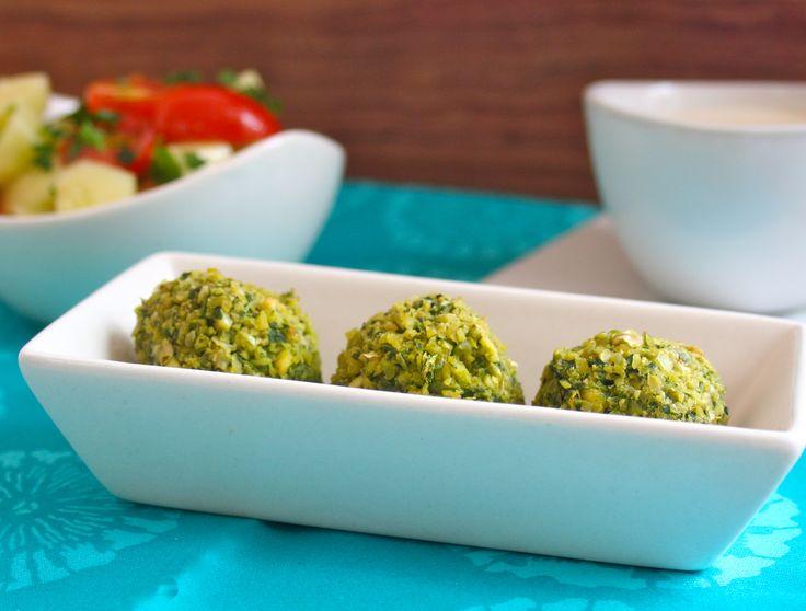 Baked Falafel with Tangy Tahini Sauce & Tomato Cucumber Salad #kosher #recipes #vegan #falafel