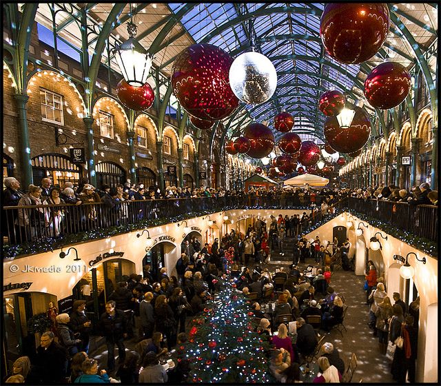 Christmas in Covent Garden, London-- We were there in September. It was fun then!