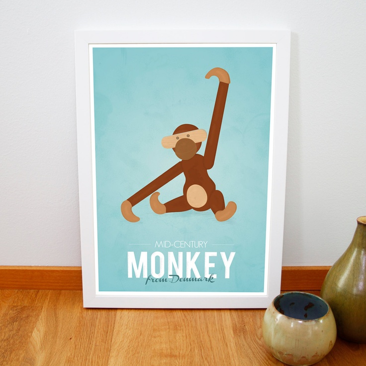 Retro Kay Bojesen monkey print from Denmark Iconic danish design poster Mid century art print Brown Blue A3. €14,00, via Etsy.