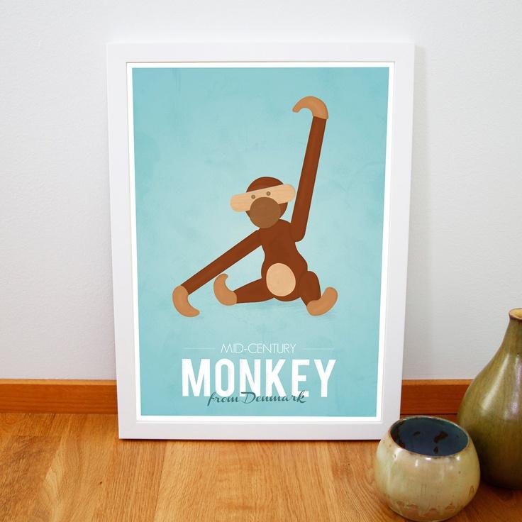 Retro Kay Bojesen monkey print from Denmark Iconic danish design poster Mid century art print Brown Blue A3. €14,00, via Etsy.