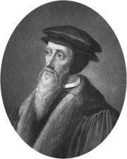 Un portrait de Jean Calvin - Paradoxalement, Calvin, qui réprouve le dogmatisme et l'autorité romaine, fait appliquer sa doctrine et les Ordonnances à Genève avec une rigoureuse intransigeance, recourt à une véritable inquisition, à des répressions, des excommunications, voire des condamnations, comme le montre la condamnation au bûcher de Michel Servet.