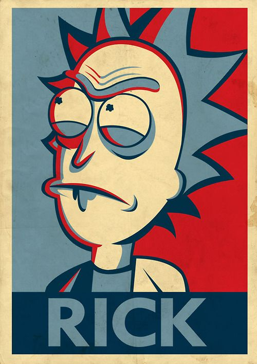 Rick and Morty in the style of Shepard Fairey's poster