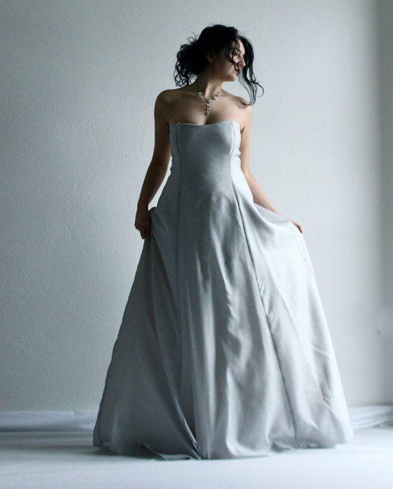 Wedding Dress Bridal Gown Ice Grey Wedding Dress by LoreTree