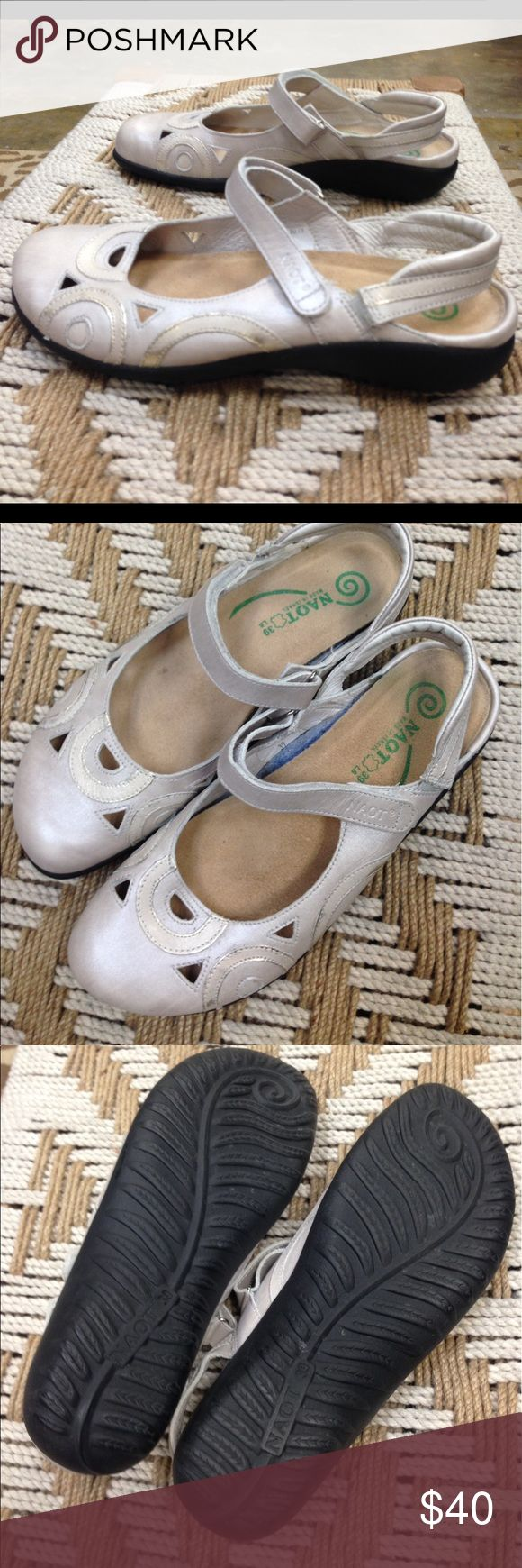 Naot Woman's Shoe Size 9.  (39) Naot Woman's Rongo Metallic Ivory Mary Jane Slingback Shoe. Size 9. (39). Naot Shoes Sandals