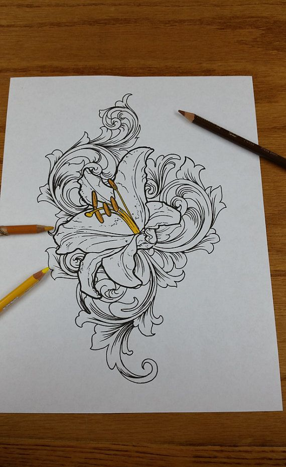 Lily with Filigree Tattoo Flash Coloring Book by Lucky13TattooNC, $2.00