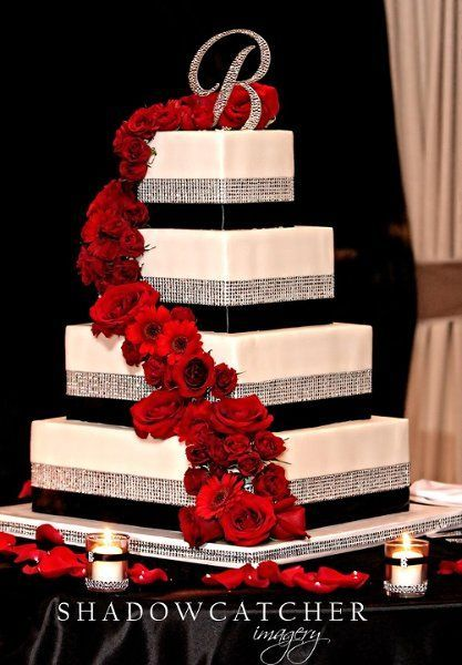 Image result for red black and silver wedding cakes