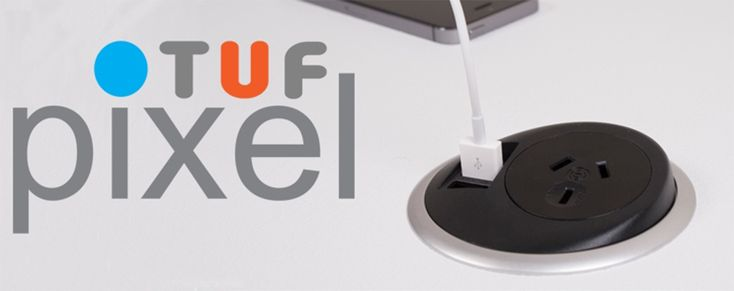 PIXEL TUF: The new PixelTUF from Elsafe uniquely combines an AC power socket and fully integrated 2.3A Twin USB Fast Charger (TUF) in a compact 80mm grommet unit. http://elsafe.com.au/products/power-and-data/indesk/pixel_tuf.html