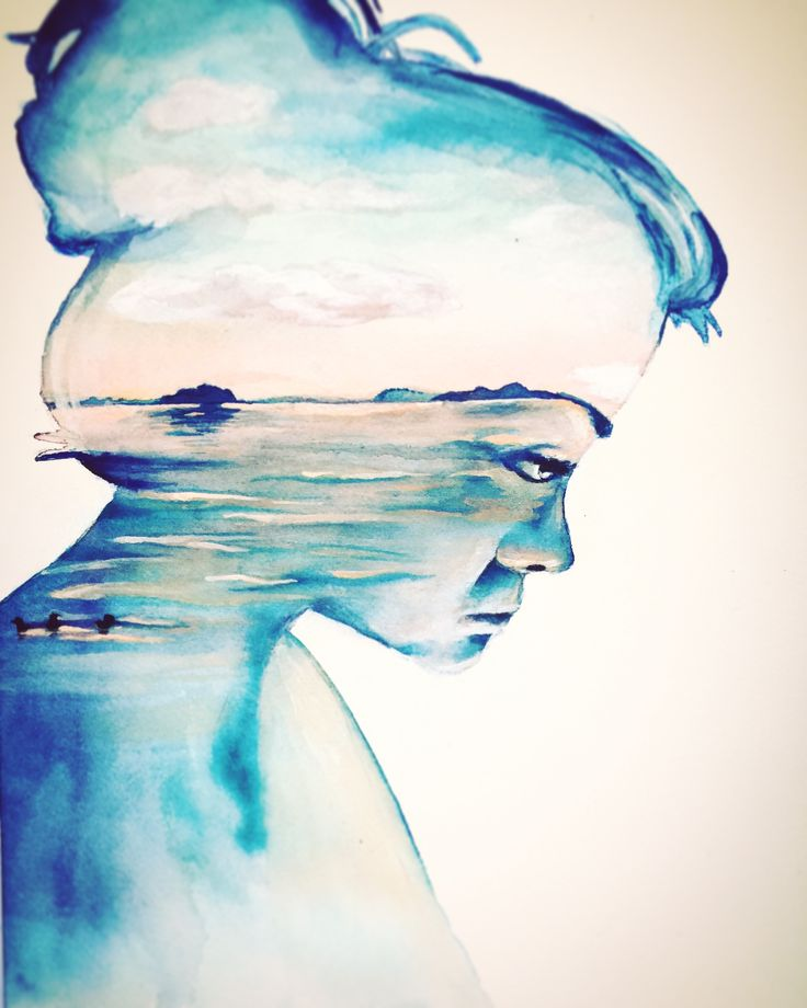 Fernweh/ wanderlust - watercolor on paper, painting, Lake Taupo - by Josephine Doege