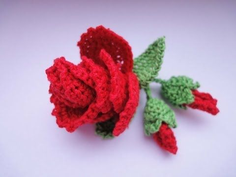 ▶ Роза с бутонами Rose and flower buds Crochet - YouTube