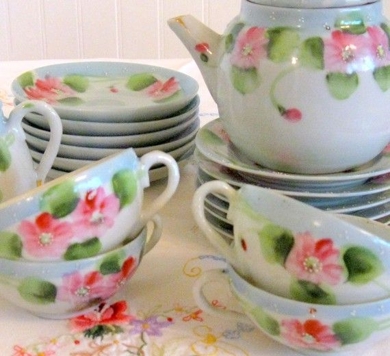 Reserved Childrens Tea Set Blue Banded with by Somethingcharming