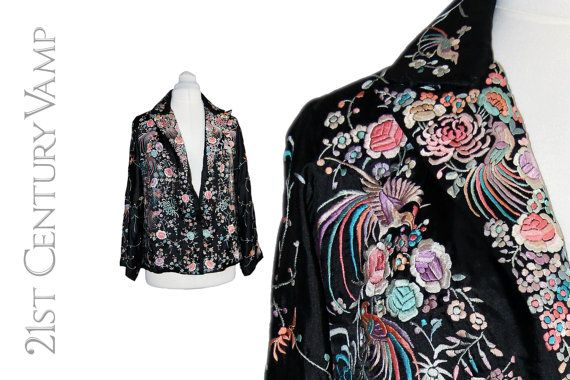 1920s Chinese Embroidered Jacket. Black Silk by 21stCenturyVamp