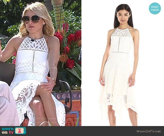 781cf8421fa9b4 Kelly s white lace halter dress on Live with Kelly and Ryan. Outfit  Details  https