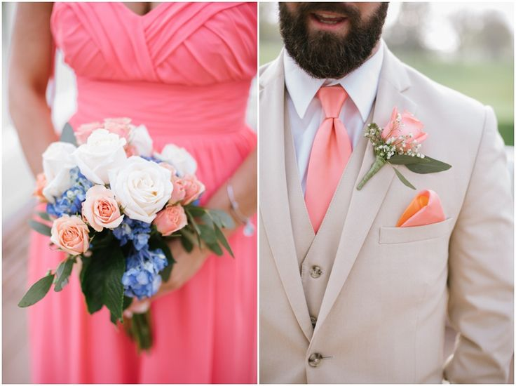 coral bridesmaid dress , tan , coral blue, white, tan groomsmen suits