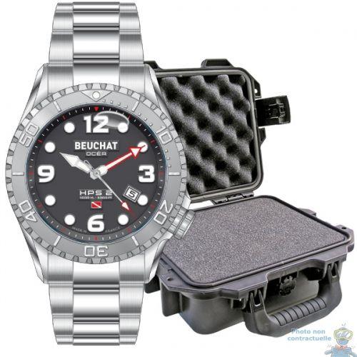 Subchandlers - L'aventure du monde sous-marin MONTRE BEUCHAT OCEA HPS2 3 AIGUILLES 2500 M BEU0099-2