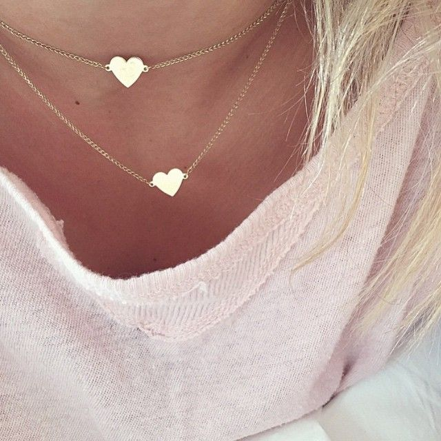 Delicate heart layered necklaces