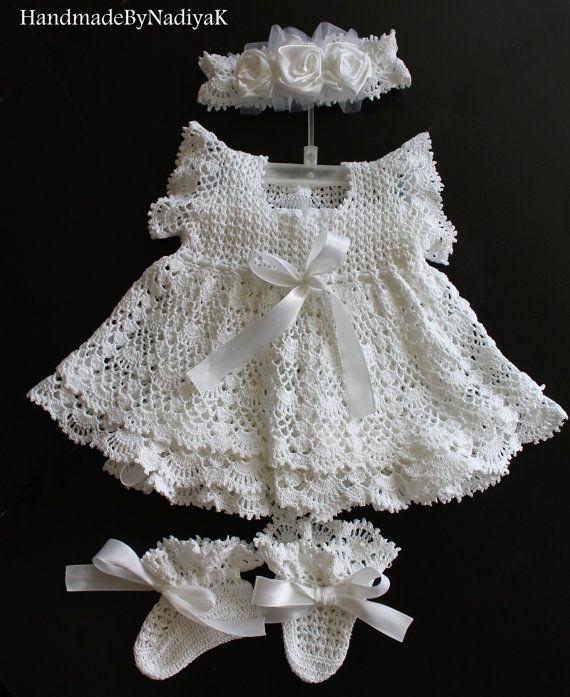 Charming+christening+dress+set.++Baptism.+by+HandmadebyNadiyaK,+$119.00
