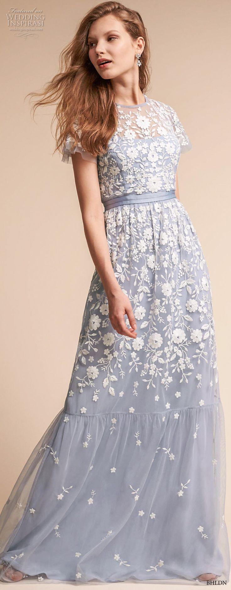 bhldn fall 2017 americana bridal short sleeves jewel neck full embellishment romantic blue color soft a line wedding dress covered lace back sweep train (meadow) mv -- BHLDN Freshest Fall 2017 Wedding Looks