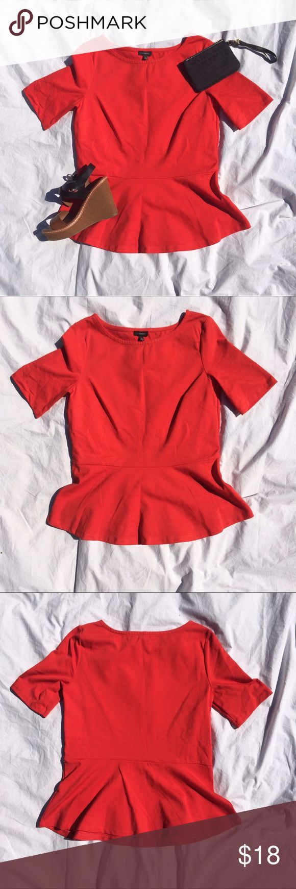 Talbots red peplum top size small Soft and chic! Great for summer! Only worn once. Talbots size small red peplum style top. Talbots Tops