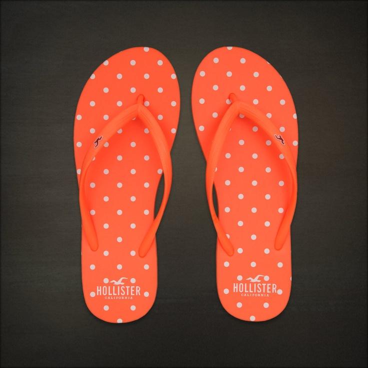 Hollister Bettys Flip Flops Classic Beach Flip Flops Neon Orange Dot