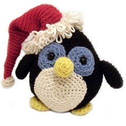 """Howie the Holiday Penguin / easy / meas. 7.5"""" tall / make him festive with hat or leave it off - your choice ~ FREE CROCHET pattern"""